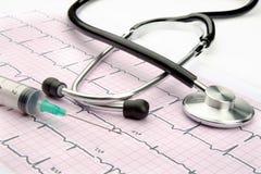 Stetoskop för doktorer på vit bakgrund med injektionssprutan och kardiogrammet royaltyfri fotografi
