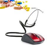 stetoskop för medicinsk mus för datorbegrepp online- Fotografering för Bildbyråer