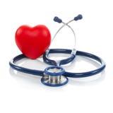 Stetoskop i czerwieni serce 1, 1 współczynnik - pracowniany krótkopęd nad bielem - obraz royalty free
