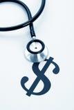 Stetoskop i dolarowy znak Fotografia Stock
