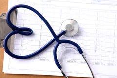 Stetoskop i formen av en hjärta på tabellen Arkivbild