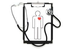 Stetoskop i obrazek istota ludzka. (horyzontalny) Zdjęcia Royalty Free
