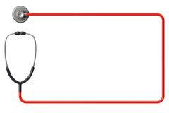 Stetoskop i rött som inramar Arkivfoto