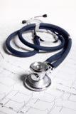 Stetoskop och ECG Fotografering för Bildbyråer