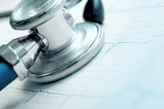 Stetoskop och ECG som ett begrepp av risken för hjärtsjukdom Royaltyfria Foton