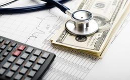 Stetoskop- och pengarsymbol för hälsovårdkostnader eller medicinsk försäkring Royaltyfri Fotografi
