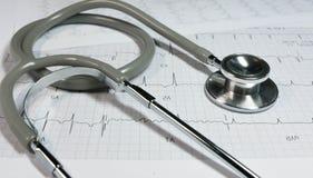 Stetoskop på elektrokardiogrammet Arkivbild