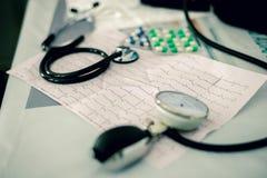 Stetoskop, preventivpillerar och ECG Arkivfoto