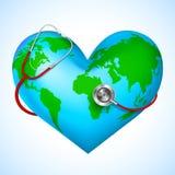 Stetoskop runt om den härd formade världen Royaltyfri Bild