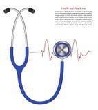 Stetoskop sprzęt medyczny dla tętno pomiaru Fotografia Royalty Free