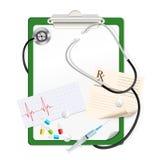 Stetoskop z białym pustym papierem ilustracji