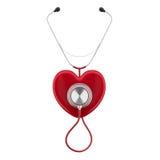 Stetoskopet på en röd hjärta framför Arkivfoton