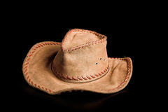 Stetson. Brown stetson isolated on the black background Royalty Free Stock Photos