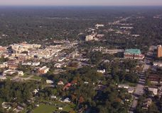 Stetson University and DeLand, FL downtown aerial view royalty free stock photos