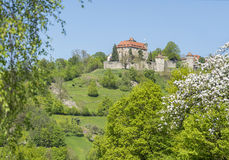 Stetten castle in Hohenlohe. Idyllic spring time scenery in Hohenlohe including the Stetten castle in Southern Germany Stock Image