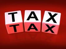 Steuer-Block-Show-Besteuerung und Aufgaben zu IRS Lizenzfreie Stockbilder