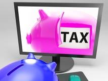 Steuer in der Piggy Show-Besteuerungs-Zahlung fällig Stockfotografie