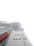 Steuer-Dokumente für Archivierungssteuern in Amerika 1040 und im Bleistift Lizenzfreie Stockbilder
