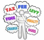 Steuer-Gebührengedanken-Wolke Person Thinking Stockfotos