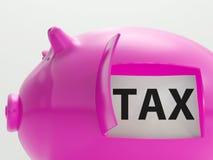 Steuer im Piggy Show-Besteuerungs-Einsparungens-Steuerzahler Stockbilder