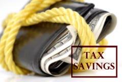 Steuer-Sparungen des Bargeldes lizenzfreie stockfotos