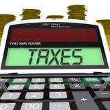 Steuer-Taschenrechner bedeutet Einkommensbesteuerung Stockfoto
