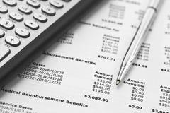 Steuer-Taschenrechner und Stift lizenzfreies stockbild