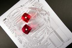 Steuer-Zeit-Glücksspiel-Strudel Stockfoto