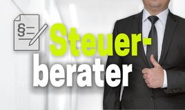 Steuerberater in german Accountant concept and businessman with thumbs up stock images