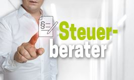 Steuerberater in german Tax Accountant touchscreen concept is operated by man stock images