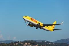 Steuerfestsetzung des Flugzeuges Stockbild