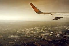 Steuerfestsetzung des Flugzeuges Stockfotografie