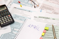 1040 Steuerformular Stockfotos