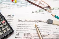 1040 Steuerformular Stockbilder
