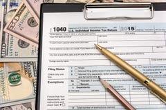 1040 Steuerformular für 2016-jähriges Lizenzfreies Stockbild