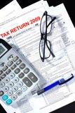Steuerformular, Rechner, Feder Stockfotografie