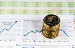Steuerknüppel mit Gold Stockfotografie