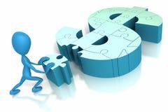 Steuerknüppelabbildung, die Puzzlespielstück drückt Lizenzfreies Stockbild