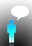 Steuerknüppelmann mit Dialogfeld Stockbilder