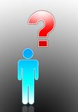 Steuerknüppelmann mit Fragezeichen Stockbilder