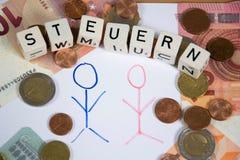 Steuern - le mot allemand pour l'impôt Images libres de droits