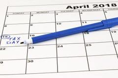 steuern Steuer-Tag - April, 15 Konzept während des Steuertages oder am 15. April der nationalen Frist für Archivierungssteuern Lizenzfreies Stockfoto