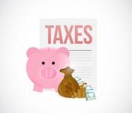 Steuern und Sparschweinspareinlagenkonzept Lizenzfreies Stockfoto