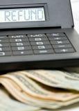 Steuerrückerstattungsberechnung Stockfoto