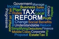 Steuerreform-Wortwolke lizenzfreie stockfotografie