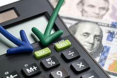 Steuersenkungen Vereinigter Staaten, Reform/verringern Konzept, Pfeilzeigen Stockfoto