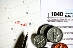 Steuertag für 2017 Rückkehr Stockfotografie