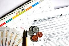 Steuertag für 2017 Rückkehr Stockbilder