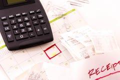 Steuervorbereitungsversorgungen und ein Kalender Stockfotos