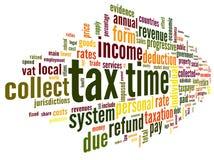 Steuerzeitkonzept im Worttag-cloud Stockbilder